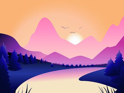 Landscape стиль милый adobe illustrator иллюстратор landscape искусство illustrator vector minimal illustration design animation