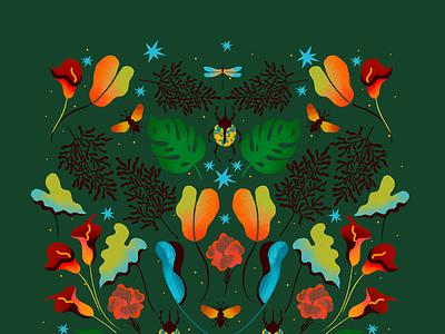 Tropical Dream vibrant colors color palette tropical leaves surface pattern surface pattern design surface design fashion design fashion illustration color vector flat illustrator illustration editorial design art