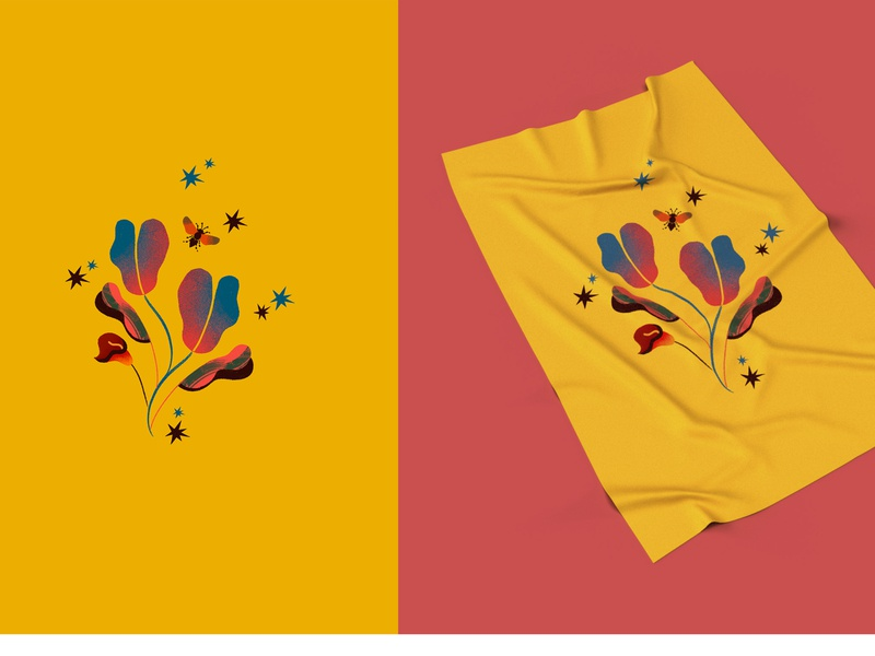 Tropical Dream colorful animal illustration bee tropical leaves tropical surface design flat fashion illustration fashion design editorial color palette illustrator illustration