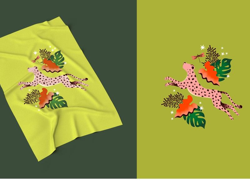 Tropical Dream flower animal illustration cheetah art design color tropical leaves surface design fashion illustration fashion design illustrator color palette illustration