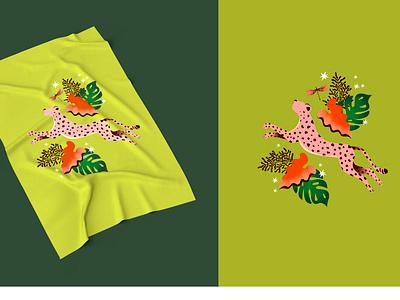 Tropical Dream flower animal illustration cheetah art design color tropical leaves surface design fashion illustration fashion design illustrator color palette illustration