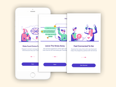 Onboarding Exploration For Pregnancy App illustration app ui women health pregnancy cravings expecting design minimal flat pregnant couple onboarding screens onboarding ui pregnancy app