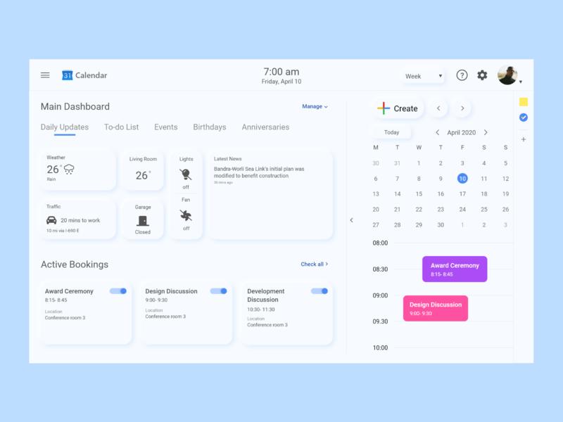 Digital Wall Calendar- Google Calendar Redesign vector inspiration uxuidesign uxui ux google calendar google calendar wall ui minimal design flat
