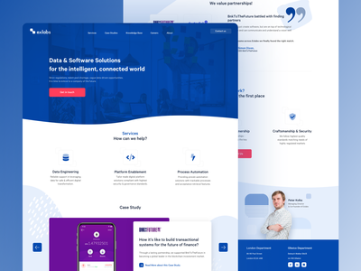 Exlabs Software Homepage kkorzeniowski landing page dev company clean web minimalistic company blue colors landing website company website shapes blue software company software house