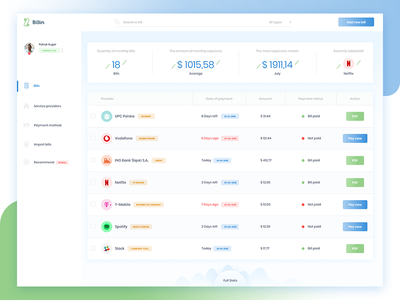 Billin 💸 white panel ui ui design bank money payment dashboard bills
