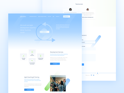 A. Company agency developer project management development clean blue gradient landing page