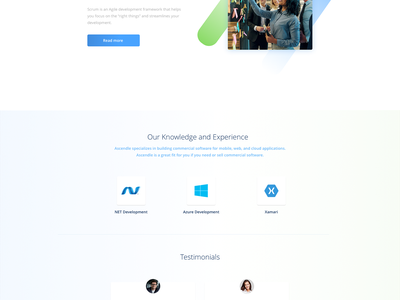 A. Company agency developer project management development clean blue gradient landing page