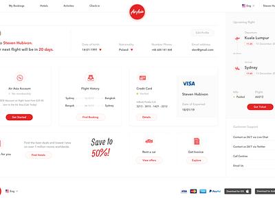 Air Asia Concept - Profile web design ui design travel search results search gradient flight booking flight booking air asia