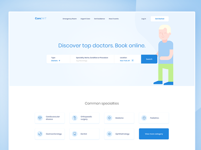 Care 24/7 health landing page medical care gradient clean blue medicine hospital doctor