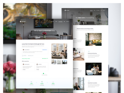 AirManaged Subpages design web house rent rental hotel clean branding apartment management airbnb