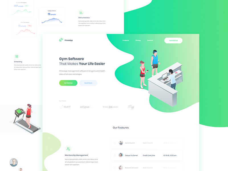 FitneoApp - Landing Page clean landing page trainer sport isometric gradient gym management gym fitness