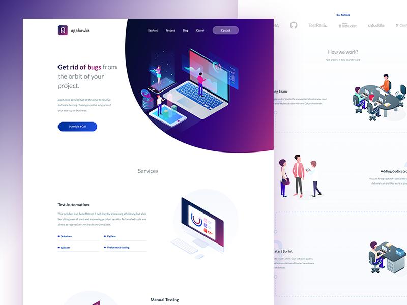 Apphawks agency web illustrations gradients isometric agency qa company qa design web design