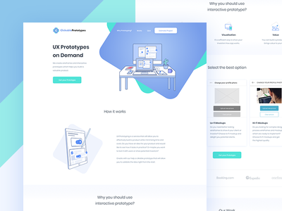 Clickable Prototypes - Landing Page gradient illustration landing design wireframes ux prototype online lp landing page