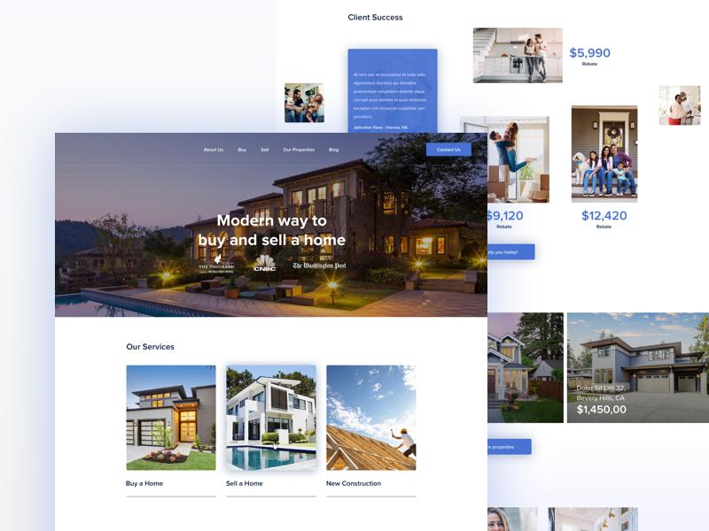 Real Estate Company landing website web design housing house development property real estate