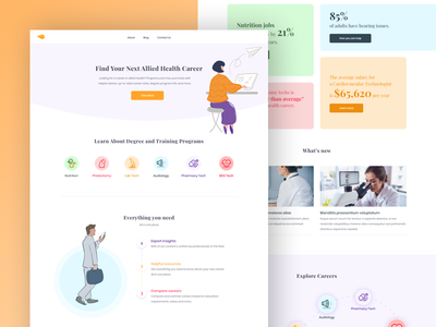P - Homepage website design health web web design colorful illustration landing page ui design medical programs health