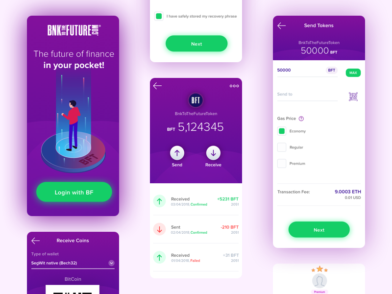BF Wallet - App Mobile cryptocurrency gradient mobile bnktothefuture bfwallet bftoken ios fiat finance currency crypto app app mobile crypto bitcoin