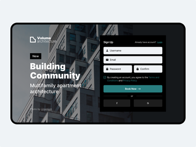 Volume Architecture — Building Community ui-design landing-page tag concept sign-in sign-up apartment community building architecture dailyui dailyuichallenge web typography free ux website ui branding