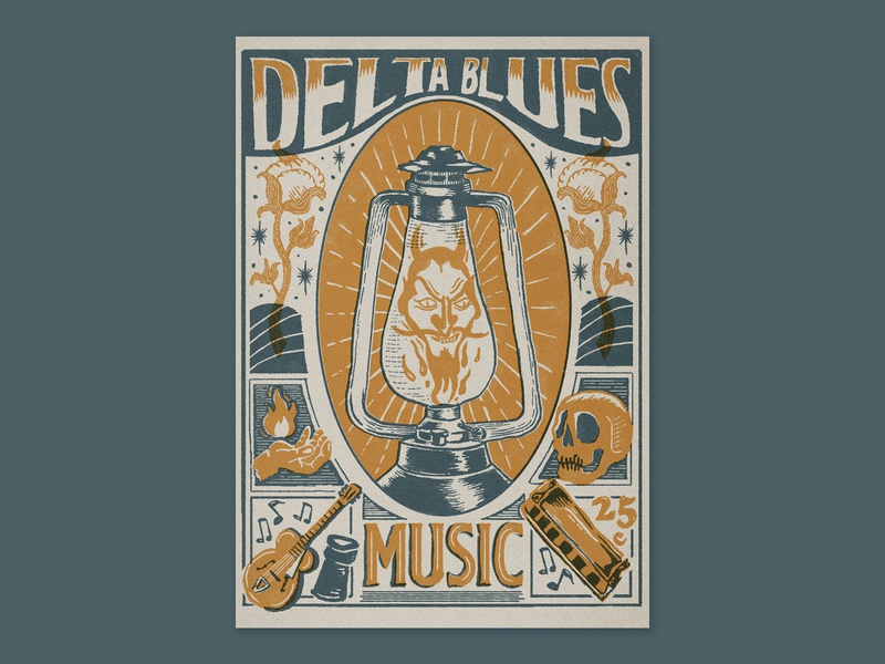Poster illustration for delta blues delta blues serigraph serigraphy screen print screenprint crossroads typography blues music logo design illustration graphicdesign