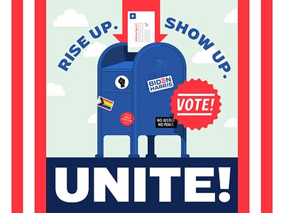 Rise up. Show up. Unite! riseupshowupunite politics election vote illustration vector
