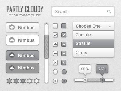 Partly Cloudy UI Kit ui ui kit user interface button search scroll cloud cloudy grey vector