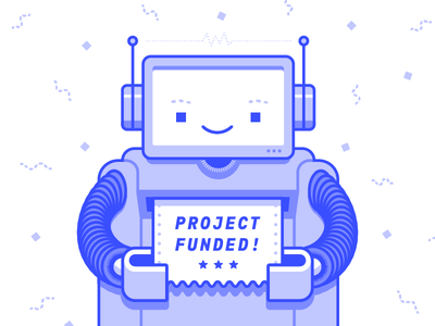 Crowd Funded Robot bot blue crowd funding robot