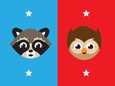 Elementary School Mascot Vote branding elementary mascot owl raccoon illustration vector