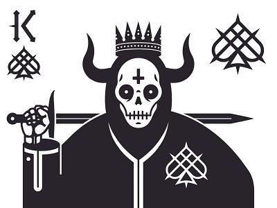 King of Spades crown skull heavy metal black metal spades playing cards vector
