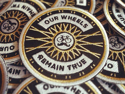 Our Wheels Remain True patch bicycle wheel spokes gold patches fixed gear