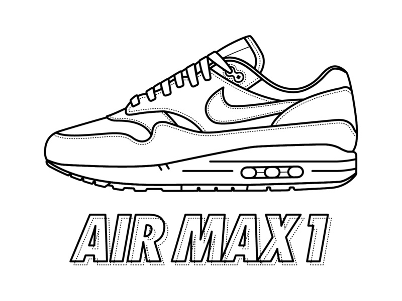 sneakerhead coloring book pages | Nike Air Max 1 Coloring Page by Justin W. Siddons on Dribbble