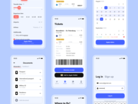Flight booking | Mobile app profile baggage airplane mobile app flight search icons calendar filters log in documents tickets avia flight