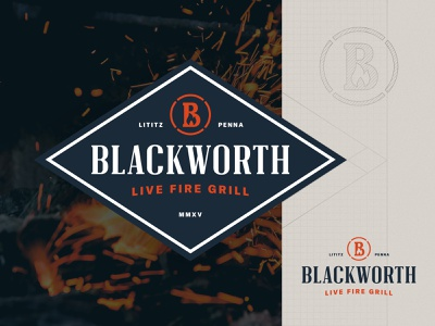 Blackworth Live Fire Grill container shape typogaphy flame identity design branding