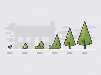 Landscaping Tree & Plant Sizing illustration service tree landscaping