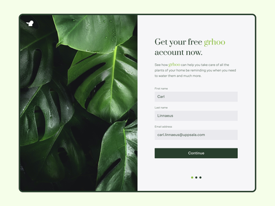 Grhoo Sign Up Details product design welcome form plant watering onboarding flow sign up signup app figma dailyui ux ui