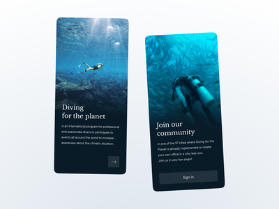 App Onboarding - DailyUI - 023 mobile gradient figma dailyuichallenge dailyui sign in ecology planet community diving ux ui onboarding design app
