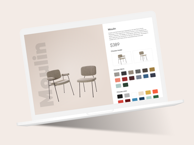 Customize Product - DailyUI - 033 drawer picker fabrics colors website dailyuichallenge figma dailyui ux ui design chair furniture shop online ecommerce customization custom product