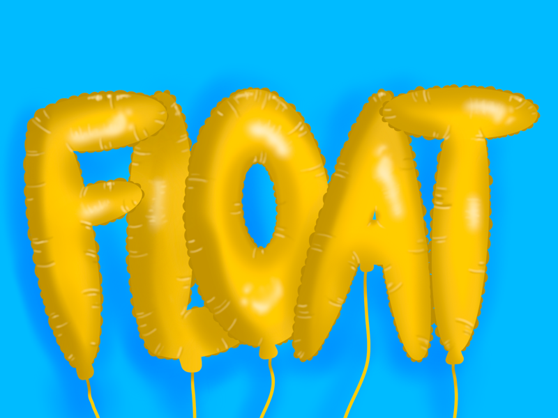 Float balloons 3d typography typo type hand lettering lettering illustration procreate