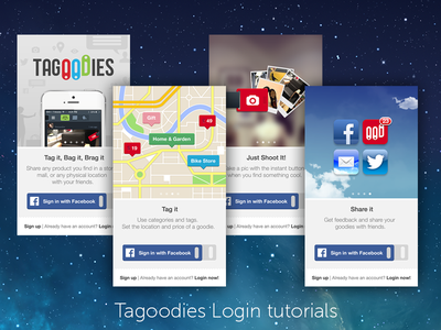 Tagoodies Login tutorial screens login tags ios