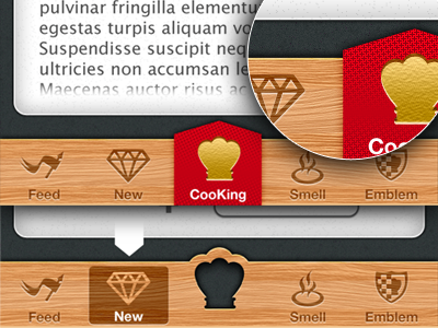 CooKing App UI ui app cook king dock red crown icons card button