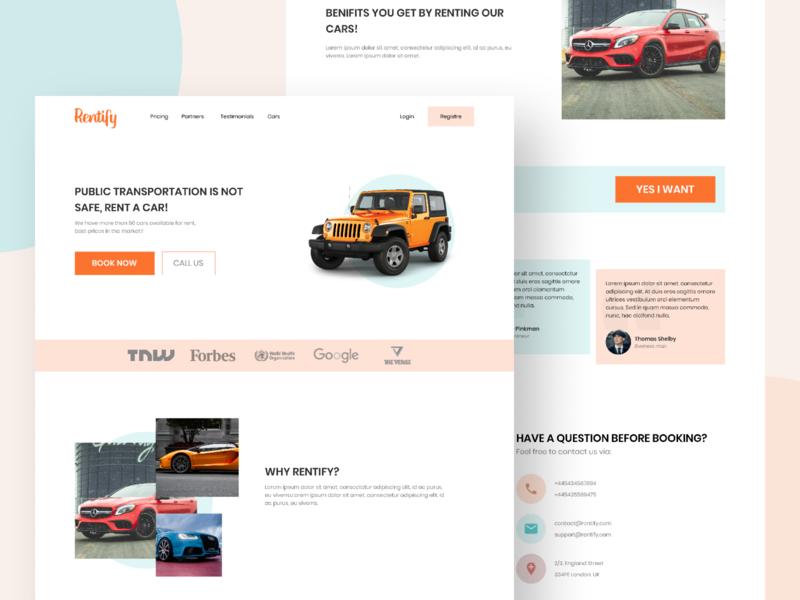 Rent Cars Landing Page UI / UX rental app conversion rate optimisation bookings homepage web design uiux landing page design landing page ui design