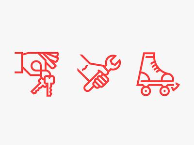 Zenreach Illustrative Icons geometric monoweight outline minimal illustrations icons rollerskate wrench keys