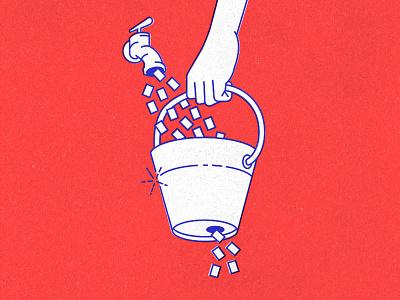 Leaky Bucket metaphor deck presentation zenreach monoweight cartoon texture illustration churn bucket leaky