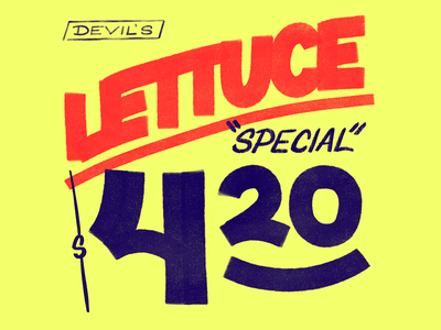 Devil's Lettuce whacky tabacky jazz cigarettes cannabis weed 420 procreate ipad pro hand lettered supermarket sign store grocery