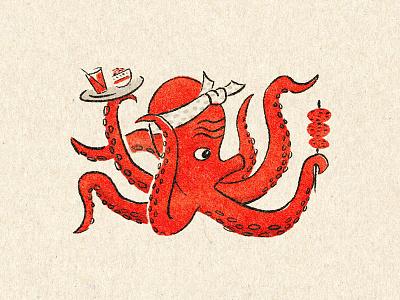 Tako showa vintage japanese procreate screenprint illustration octopus octo rintaro schochu yakitori takoyaki tako