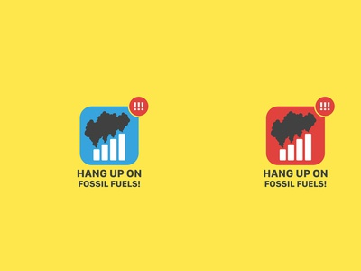 Hang up on Fossil Fuels! icon logo vector design campaign branding