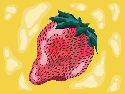 Strawburry strawberry form fruit procreate illustration