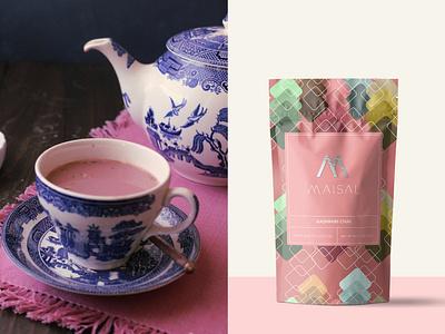 Maisal Chai Packaging (Kashmiri) pattern branding logo design coffee tea label design label packaging labeldesign packagingdesign packagedesign package graphicdesign