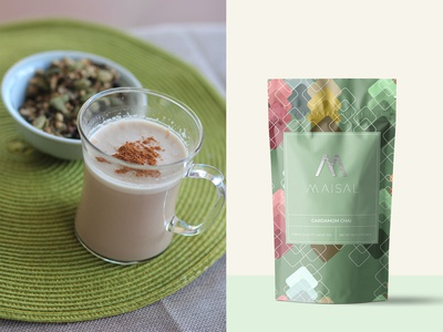 Maisal Chai Packaging (Cardamom) label packaging packaging mockup packaging design coffee tea label label design package design pattern packaging
