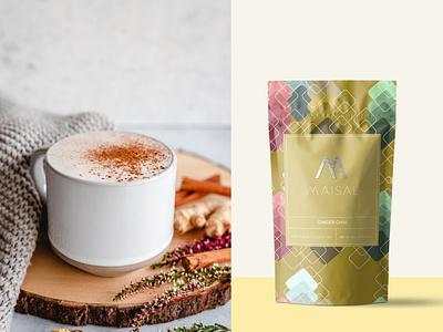 Maisal Chai Packaging (Ginger) branding logo design graphicdesign pattern coffee packaging coffee tea packaging tea label packaging label label design package design packaging