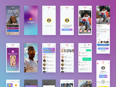 Dating App UI Template dating app date romance meeting dating mobile app design mobile app app mobile ui mobile kit user interface clean webdesign web ui design