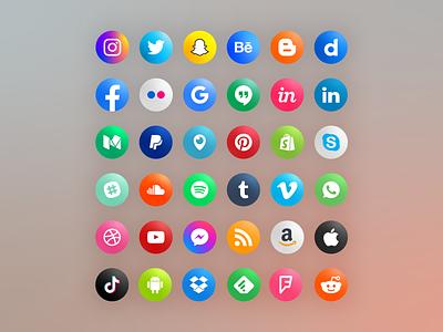 Round social media icons icon set icons social media social